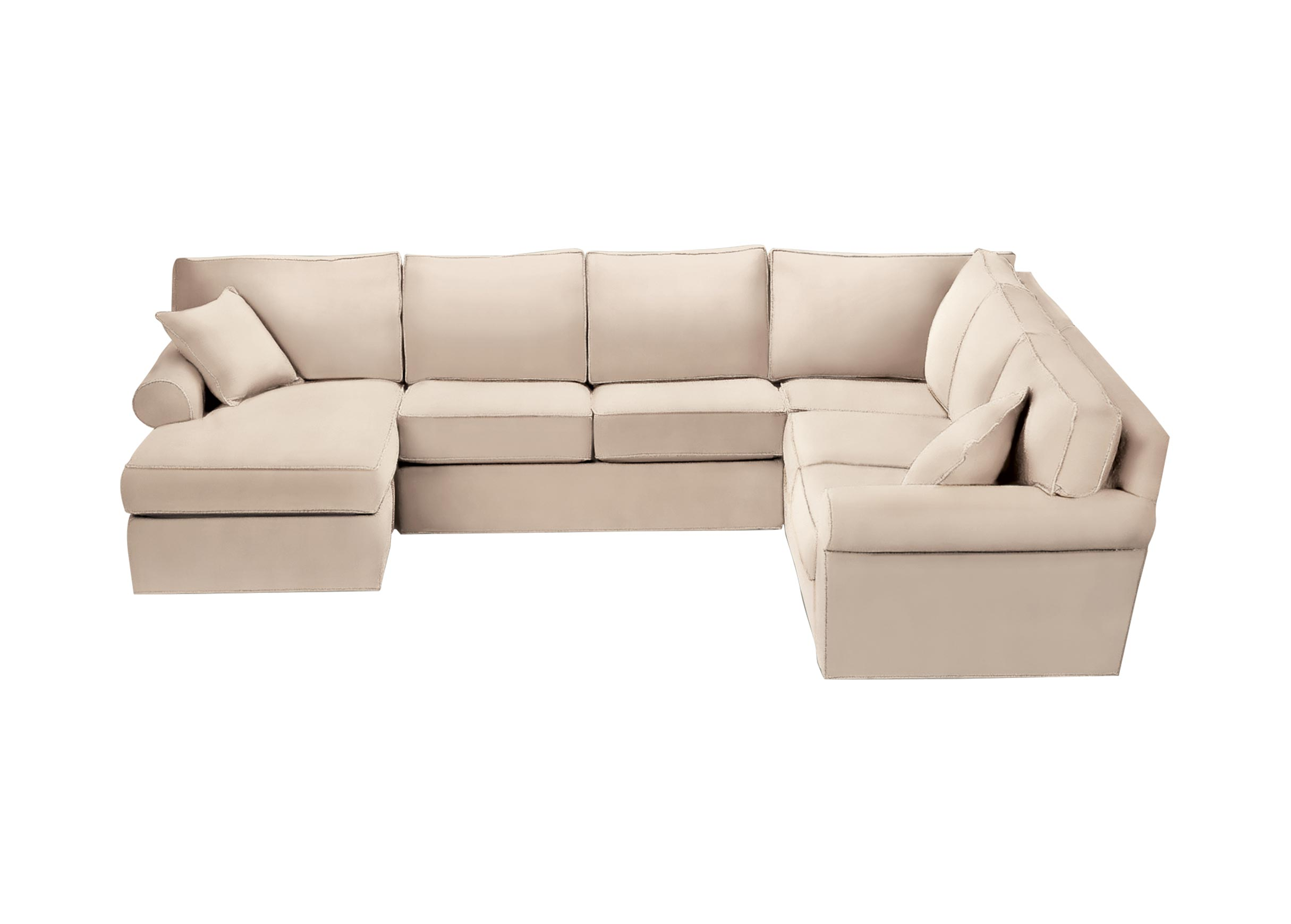 Images Retreat Roll Arm Sectional With Chaise Large Gray